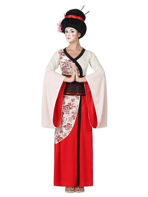 costume da geisha bianco  rosso  donna costumi adulti