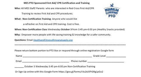 mes pto sponsored aid cpr certification training oct