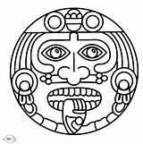 Mayan Coloring Pages Aztec Calendar Colouring Mayans Symbols Sun Inca sketch template