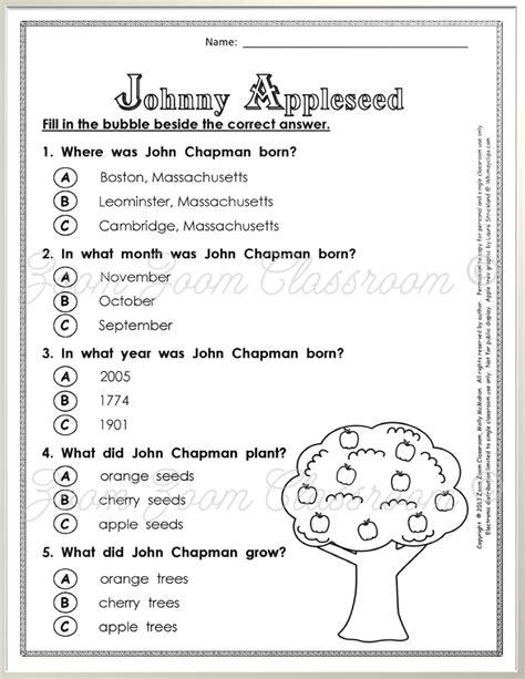 johnny appleseed worksheets for 2nd grade worksheet exle