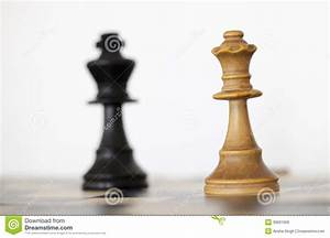 Wooden White Queen And Black King Chess Pieces Stock Photo ...
