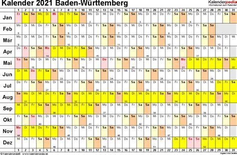 Vom 16.12.2020 bis 10.01.2021 werden die schulen geschlossen. Kalender 2021 Baden-Württemberg: Ferien, Feiertage, Excel ...