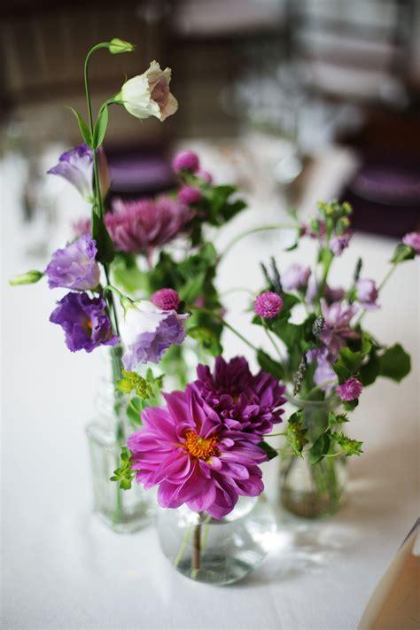 small purple floral centerpieces