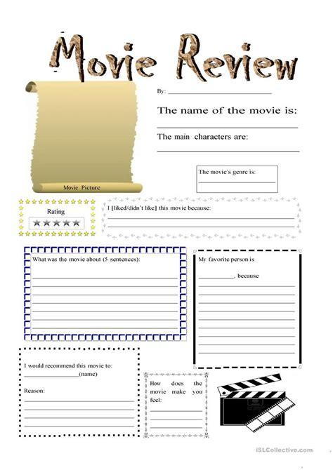 Movie Review Worksheet  Free Esl Printable Worksheets Made By Teachers