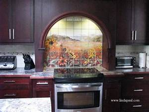 kitchen backsplash tile murals by linda paul studio by With kitchen cabinets lowes with metal sunflower wall art