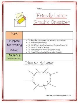 letter writing graphic organizers templates  task