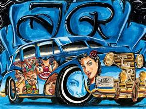 Colored Lowrider Car Art