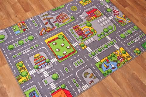 Extra Small Colourful Kids Play Village Rug Fun City Road