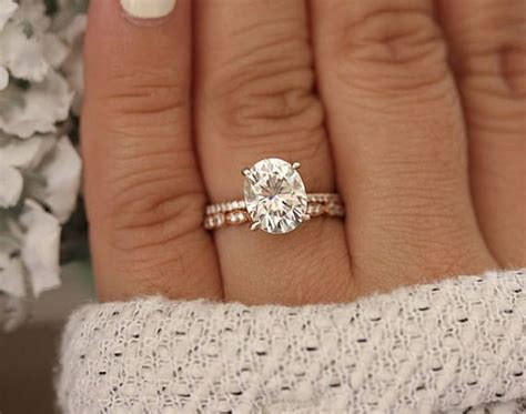 rose gold engagement ring moissanite oval 10x8mm and