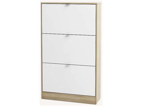 etagere bureau conforama meuble à chaussures bright coloris chêne et blanc vente
