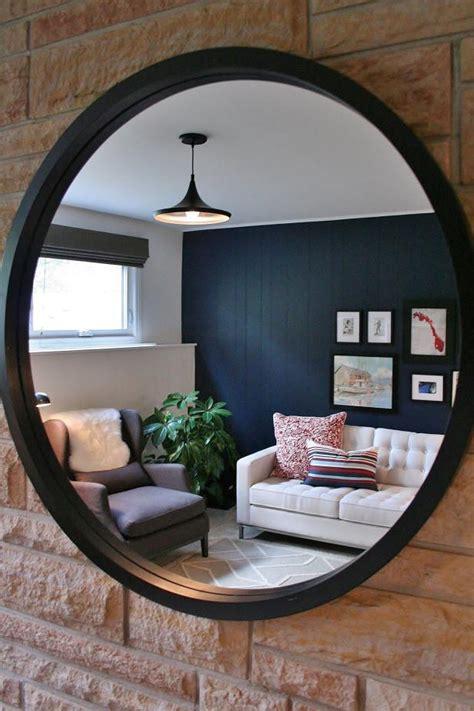 mirror reflecting blue contemporary living room hgtv