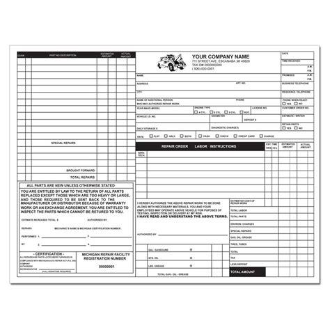 tire shop invoice form sales  repair receipt printing