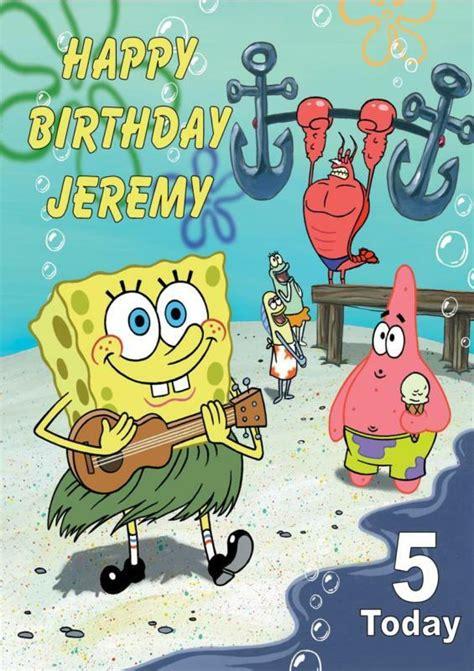 spongebob birthday card template personalised spongebob birthday card ebay