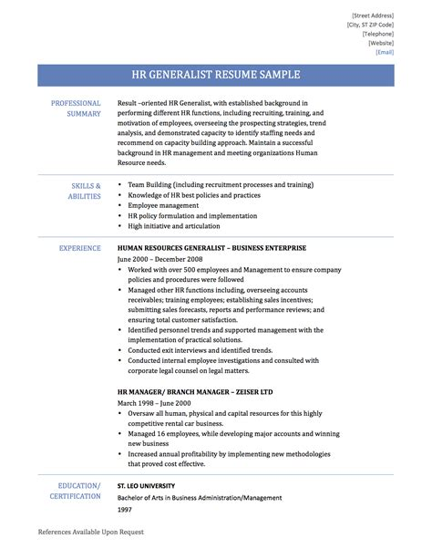 human resources generalist resume resume ideas