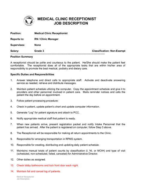 medical receptionist description 10 example resume receptionist job description