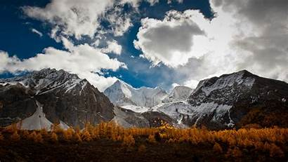 Mountain Range Mountains Wallpapers Nature Clouds Trees