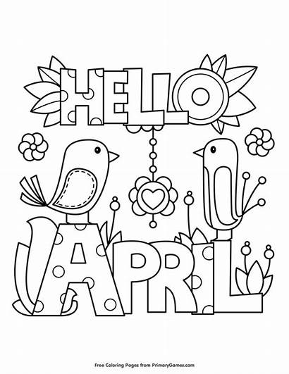 Coloring Pages Spring April Showers Hello Printable