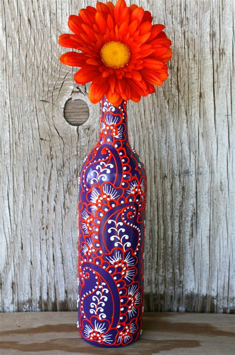 Wine Vase by Painted Wine Bottle Vase Up Cycled Purple White And