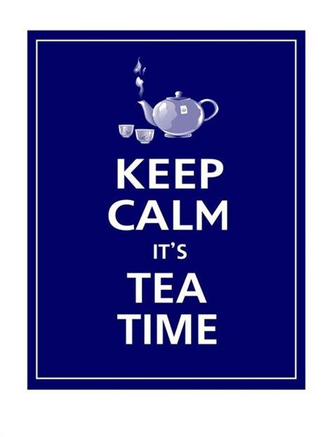 keep calm it s tea time print 11x14 navy by posterpop