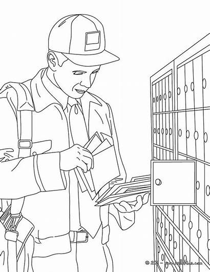 Coloring Office Pages Postman Away Flushed Job