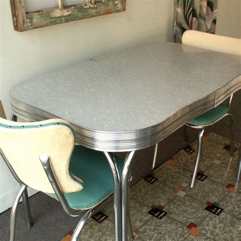 chrome table and chairs vintage chrome and formica table with two by lookingforye