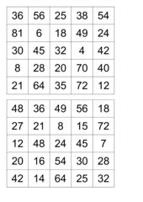 Domino zum 1x1 / diese aktivierung enthält 10 bingoscheine (auch spielscheine oder einmaleins bingo zum ausdrucken : 4teachers - Rechenbingo kleines 1x1