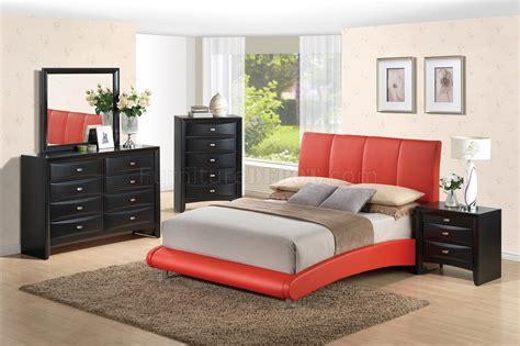 8272 Red Linda Black 5pc Bedroom Set By Global Woptions