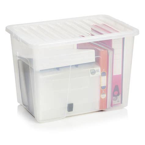 storage box wilko storage box with lid clear 80l at wilko com