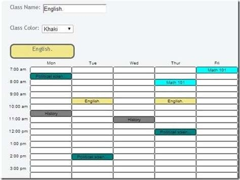 c template class 8 class schedule makers excel templates