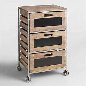Wood and Metal 3-Drawer Mackenzie Rolling Cart World Market