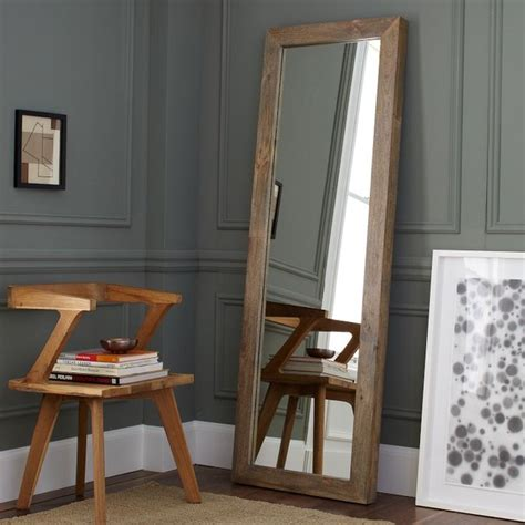 floor mirror wood parsons floor mirror natural solid wood traditional floor mirrors by west elm