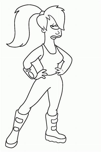 Futurama Leela Coloring Colorear Dibujos Draw Dibujo