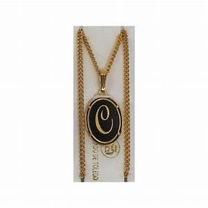 damascene gold letter c oval pendant With gold letter c pendant