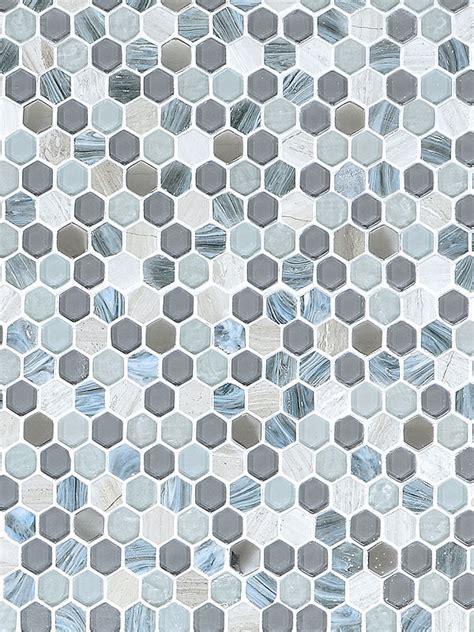 Blue Gray Hexagon Glass Marble Mosaic   Backsplash.com