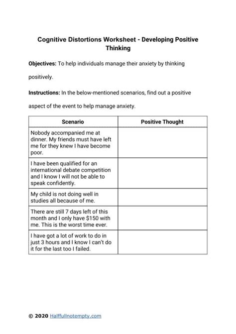 ) a form to help you log negative triggers, thoughts, and feelings. Cognitive Distortions Worksheets (7+) | OptimistMinds
