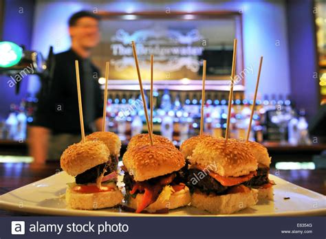 pub canap burger bite canapés in a gastro pub in lancashire stock