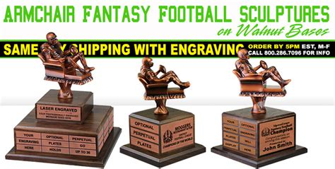 Armchair Fantasy Football Sculptures On Walnut Bases