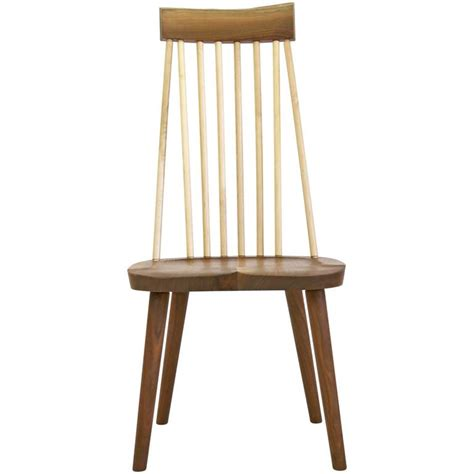 shaker style high back hardwood chair in walnut and maple