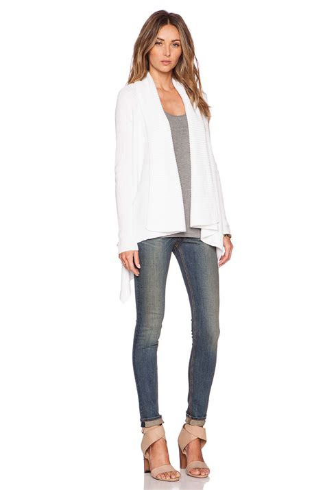Draped Cardigans For - lyst vince draped front cotton cardigan in white