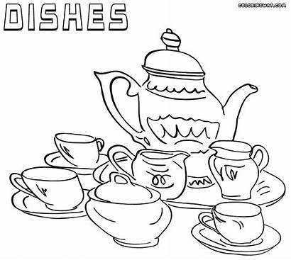 Dishes Coloring Pages Tea Printable Colorings Sheet