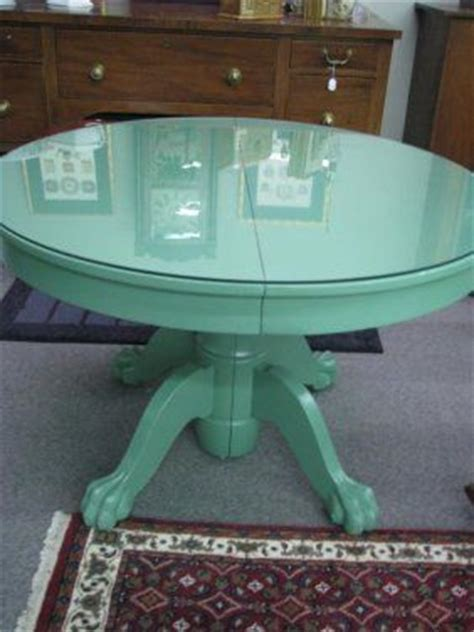 claw foot oak dining table  green painted finish
