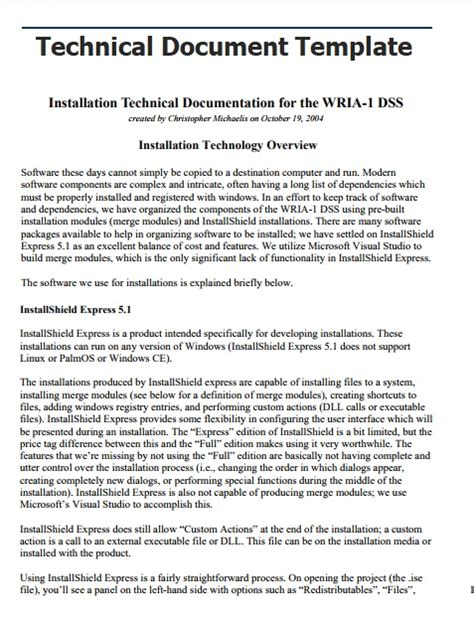 technical documentation template technical documentation template 2 printable pdf and word