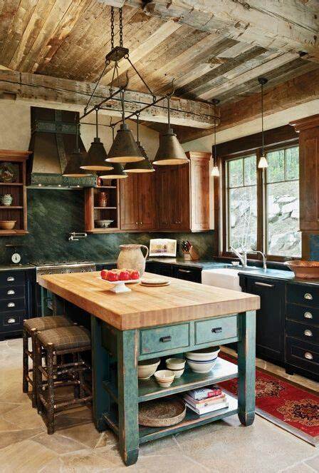 green and kitchen rustic country kitchen with a wood planked ceiling and 3956