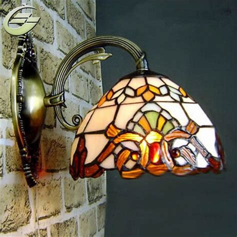 baroco style wall light antique lighting stained glass