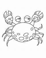 Crab Coloring Cartoon Printable sketch template