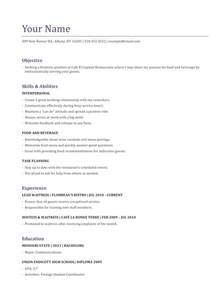 waitress objective resume 10 waitress resume exle writing resume sle