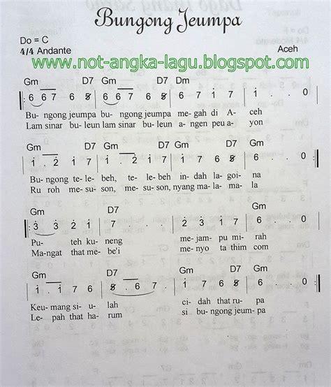 notasi lagu daerah jawa barat not angka lagu bungong jeumpa kumpulan not angka lagu