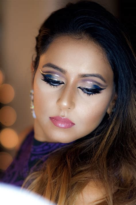 glitter double cut crease makeup  holidays indian bridal makeup boston