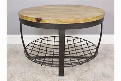Metal Coffee Table Round Rustic Wooden Shops