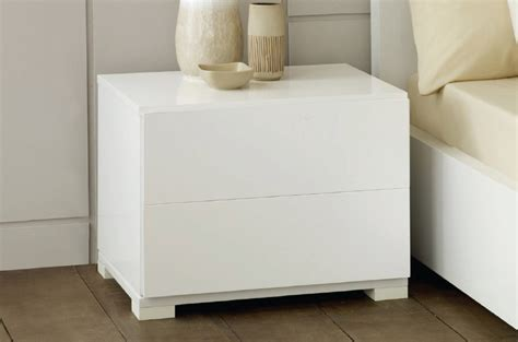 Modern White Lacquer Nightstand by Roma Modern White Lacquer 2 Drawer Nightstand
